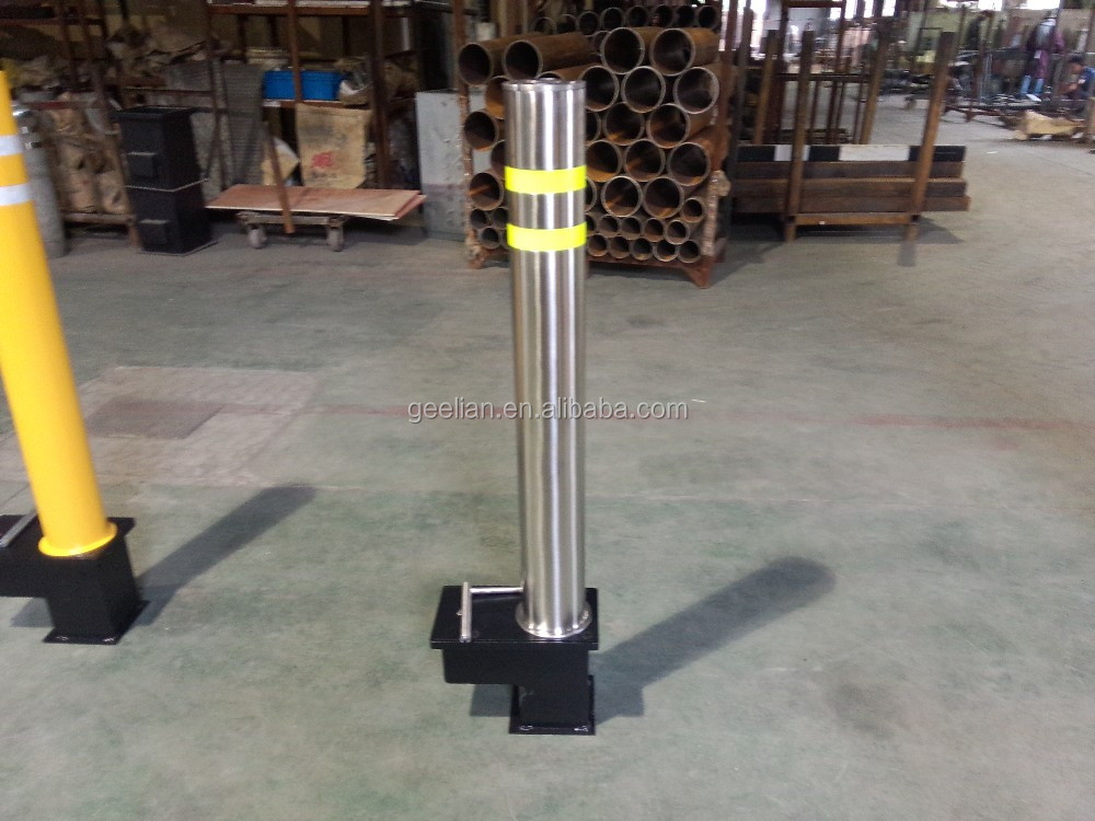 Automatic security car parking warning retractable hydraulic bollard