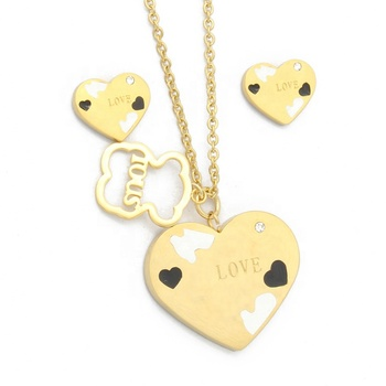 Stylish Stainless Steel Gold Enamel Ladies Jewelry Bridal Heart Shaped Jewelry Sets