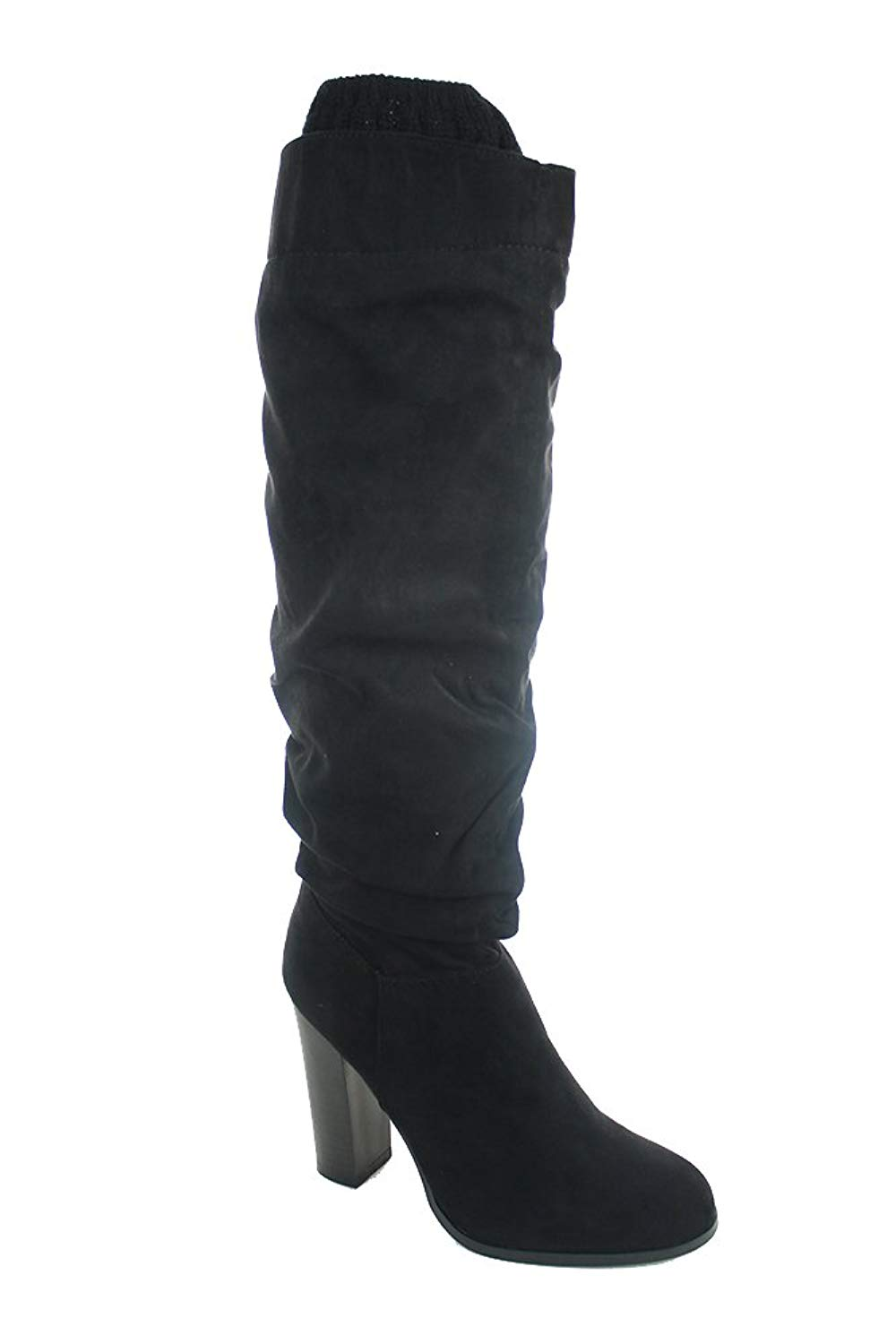 1968435811b Qupid Womens Faux Suede Knee High Chunky Heel Sweater Riding Boot Black 8