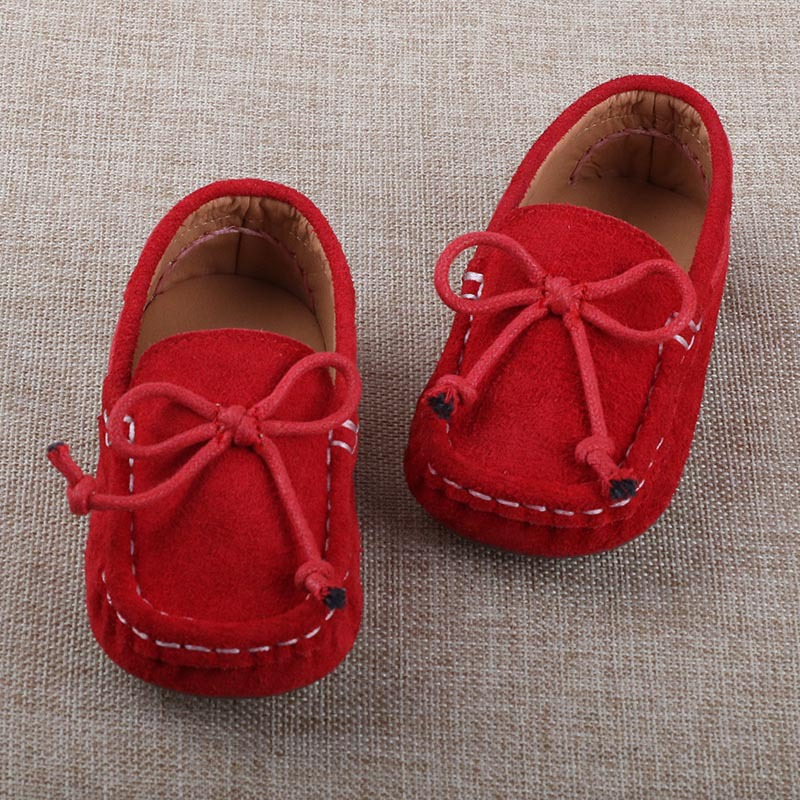 7359c63ef34 2016 Autumn Genuine Leather Boys Girls Loafers Kids Shoes Bowtie Red Black  Toddler Suede Casual Shoes For Children Girls