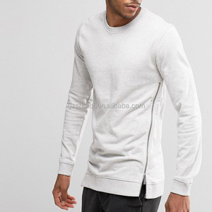 Light grey crewneck sweater custom men fashion hoodies and sweatshirts with zip side