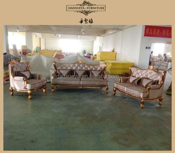 Italian Reproduction Rose Gold Gilded Bright Color Velvet Sofa Set