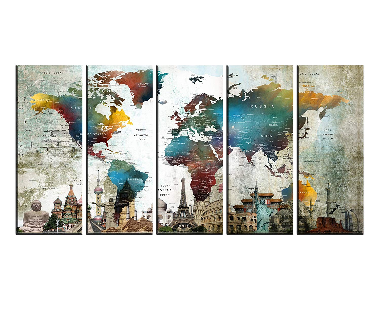 Extra Large World Map Wall Art Push Pin Canvas Print set Multi Panels 5 pieces, Atlas Globe wall decal for Kids Room, Framed, Large Watercolor Wall Decor hr155