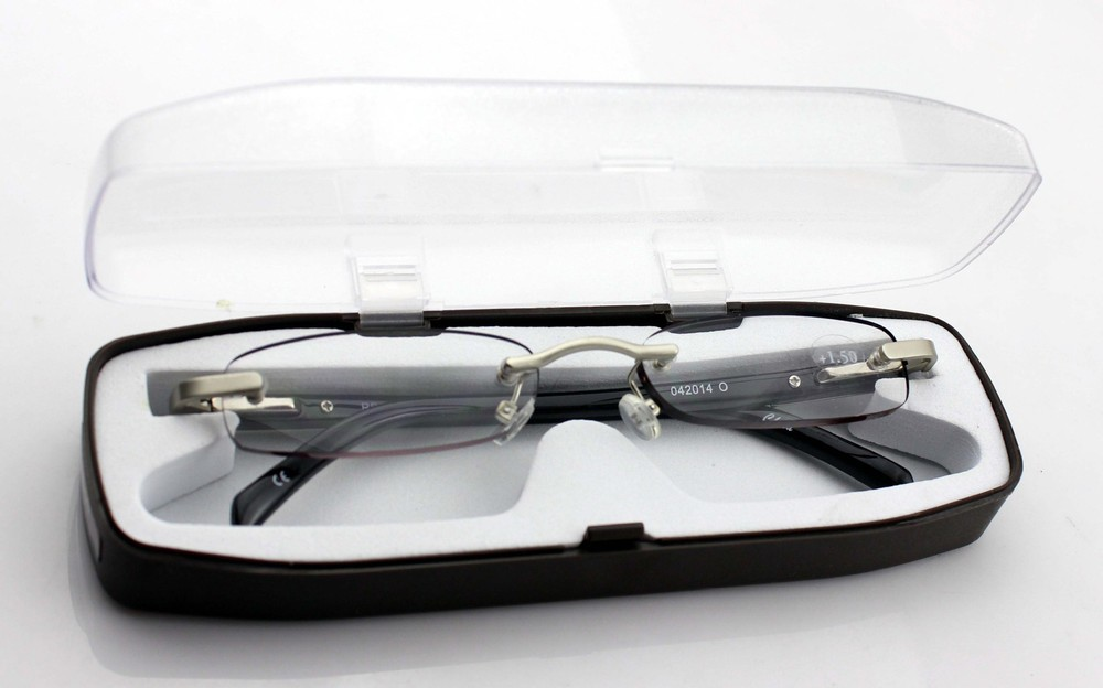 5bfef8f91de4 Get Quotations · Brand Eyewear High Quality Rimless Read Glasses Women and  Men Acetate Frameless Reading Glasses