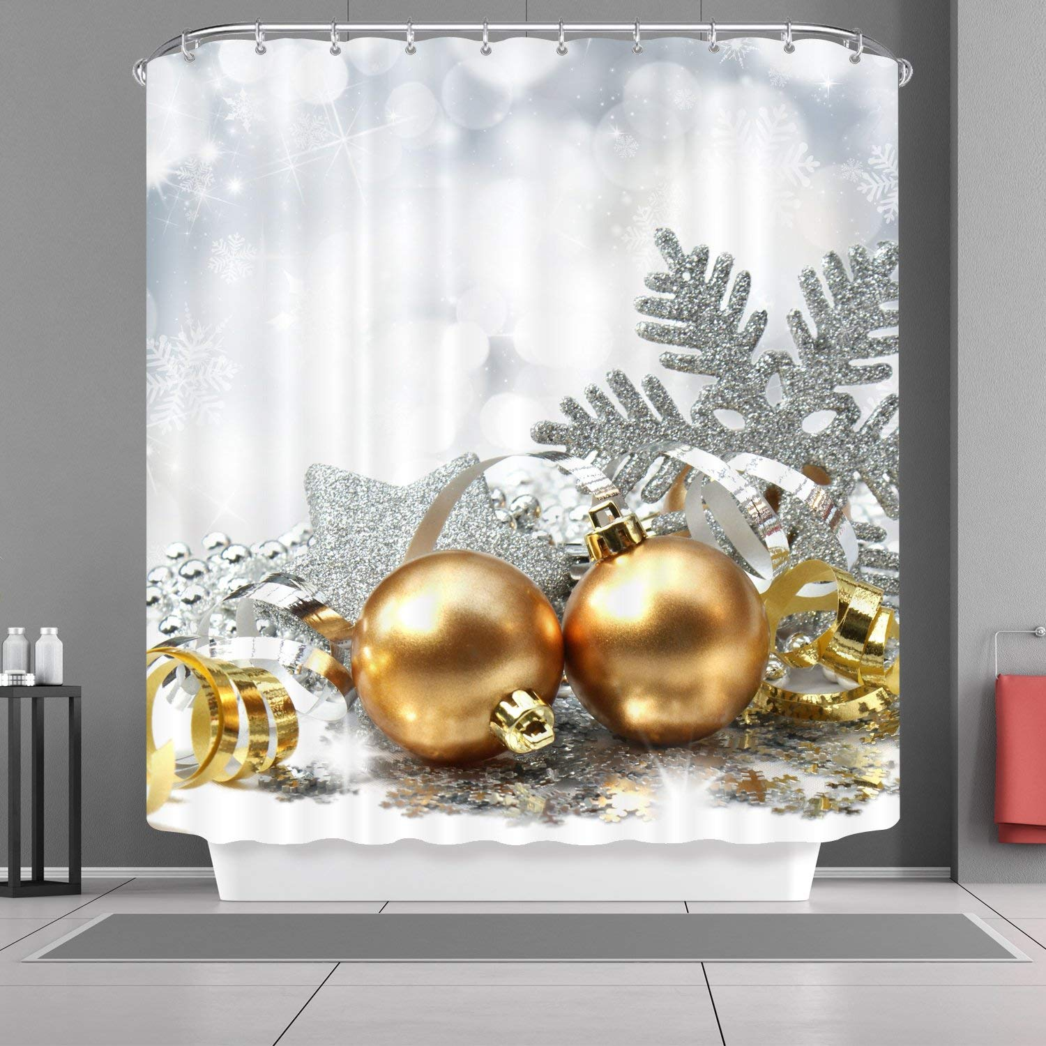 Christmas Bathroom Curtains.Home Shower Curtains Hooks Liners Vancar Christmas Shower