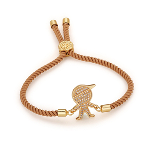 gold plated cz fashion costume brass cute boy accessories jewelry adjustable handmade rope bracelets jewelries