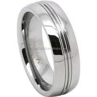 Tungsten Carbide Mens Wedding Ring With Twin Grooves