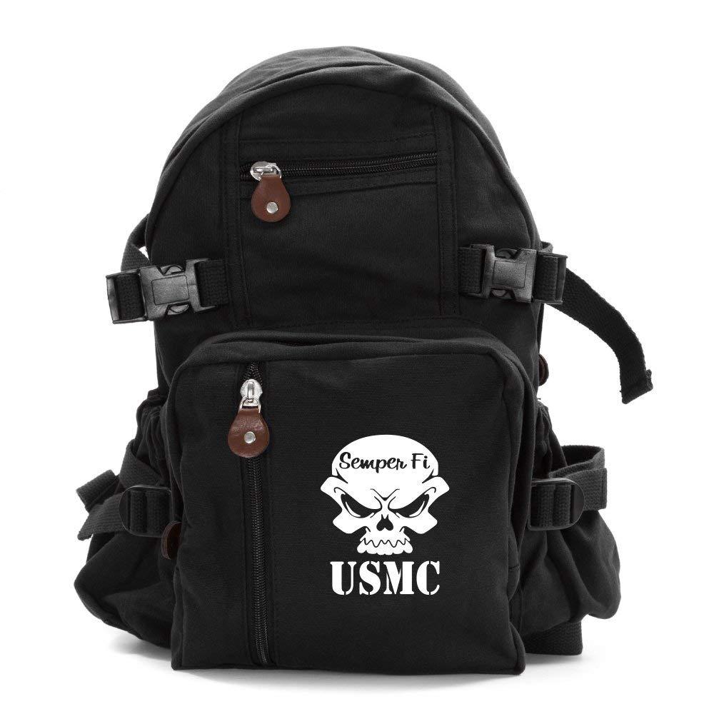 USMC Semper Fi Skull Marine Corp Army Sport Heavyweight Canvas Backpack Bag in Black & White, Small