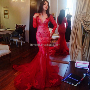 Hot Red Long Sleeve Evening Dresses 2018 Sweep Train Mermaid Evening ...