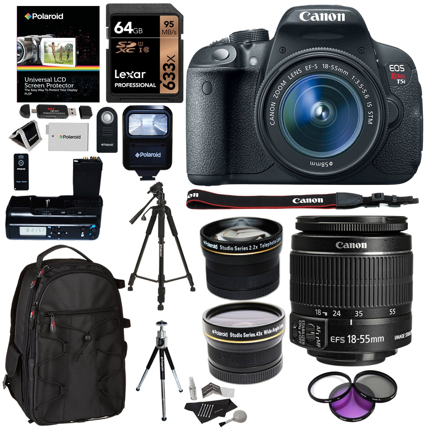 Canon EF-S 18-55mm f//3.5-5.6 is II Standard Zoom Lens Accessory Bundle Cleaning Kit UV Filter 32GB SD Card for Canon XT1 6D