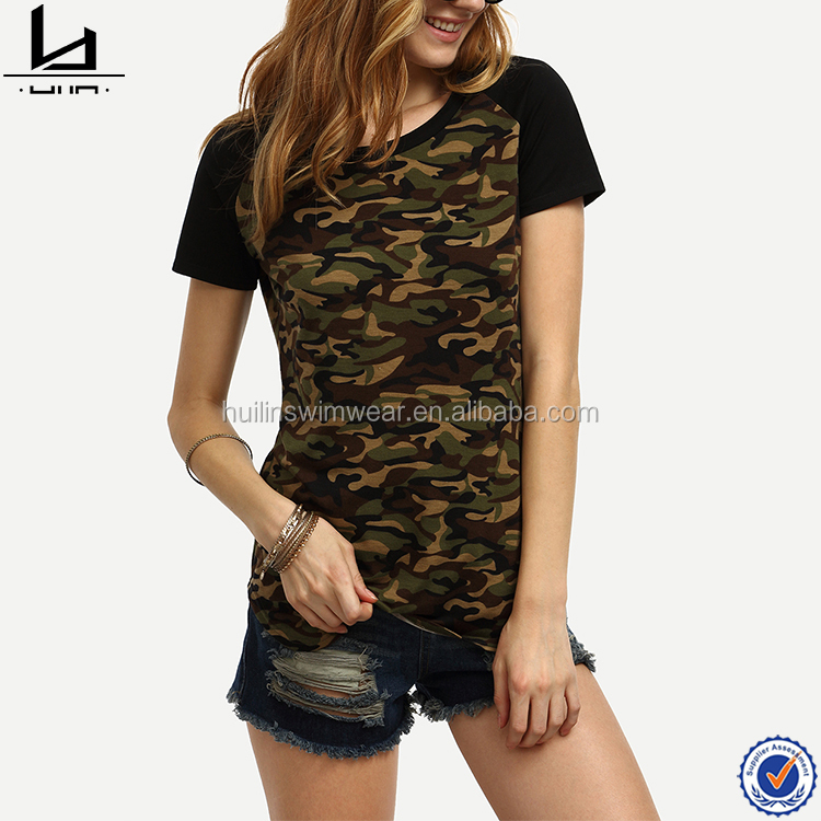 Dongguan HuiLin apparel high quality women short sleeve crew neck camo plain t-shirts
