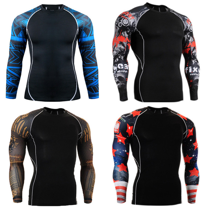RIGWARL Muscle Men 3D Prints Compression Shirts T-shirt Long Sleeves Thermal Under Top Fitness Base Layer Weight Lifting