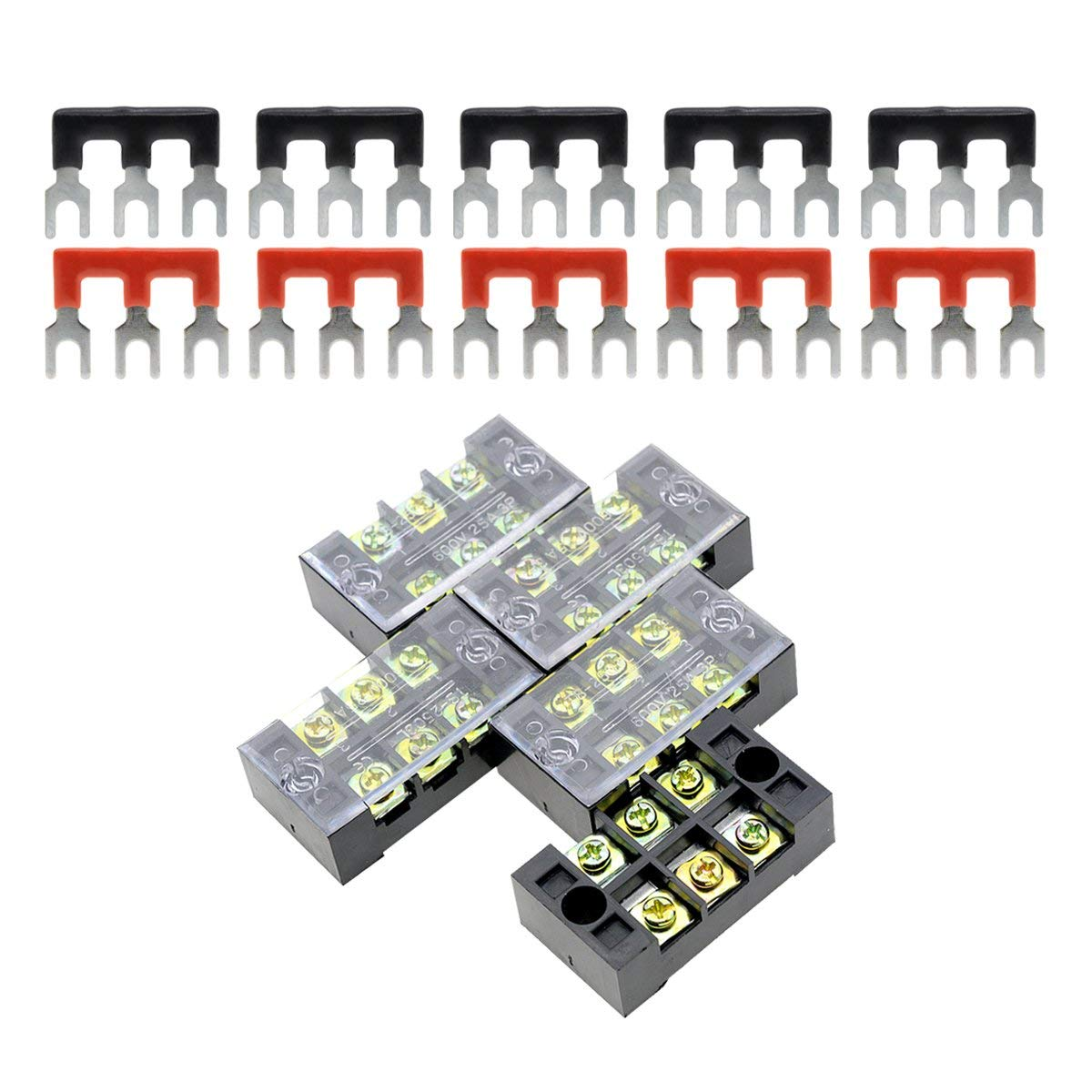ZXHAO 380V 5A 12 Positions Dual Row Wire Connector Screw Terminal Barrier Block 5pcs