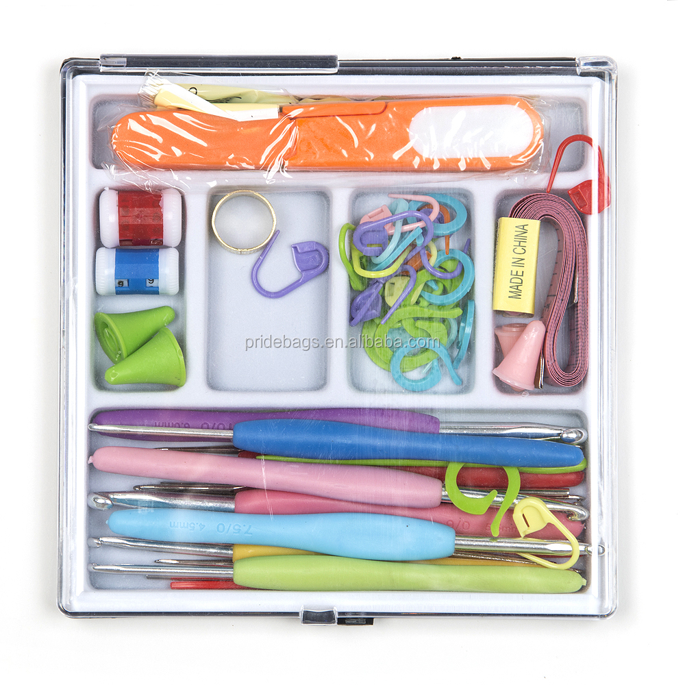 Deluxe Soft Handle Crochet Hook Set with Plastic Box ,62pcs Kniting Needles Kit