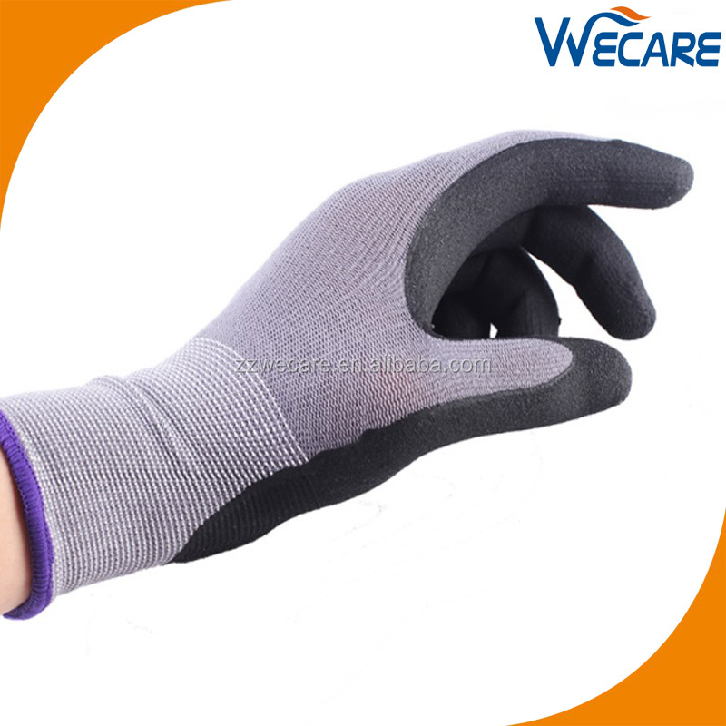 Grey Seamless Knit Nylon Lycra Ultimate General Purpose Palm Coated Hand Grip Micro Foam Nitrile Gloves