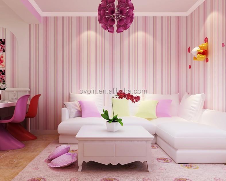 Behang Kinderkamer Roze : Niet geweven muur papierrol moderne blauw roze gestreepte behang