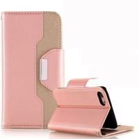 Wholesale Luxury Genuine Leather Customized Flip Wallet Phone Case Cover for iPhone 7 Plus