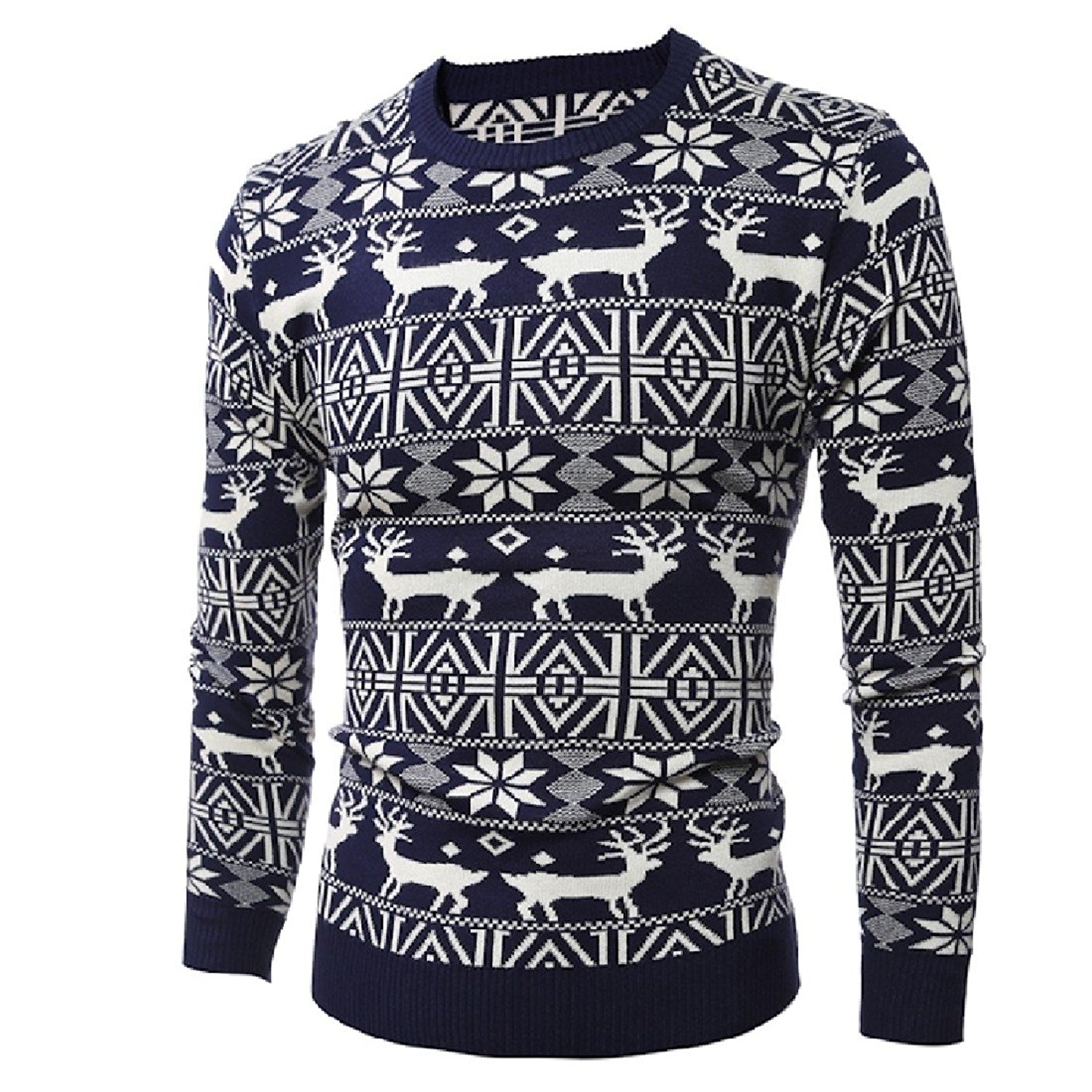 Winwinus Men Christmas Day Plus Size Pullover Knitted Pullover Sweaters