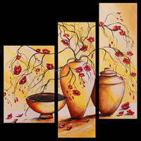 wall decoration,modern european paintings.three panel painting dafen painting