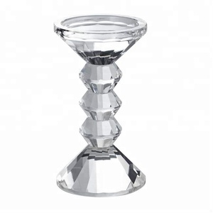 large clear crystal pillar holder stand