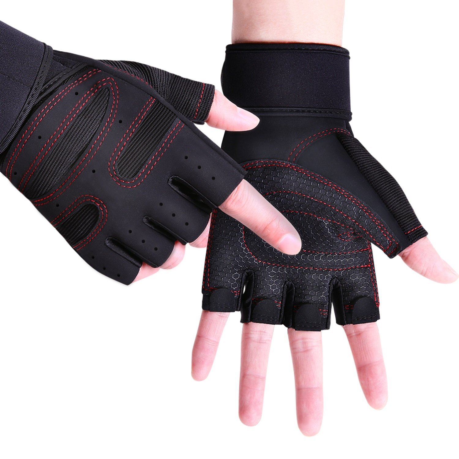 EVO Leather Cycling Gloves Weightlifting Gym Neoprene Support Wrist Wraps Straps