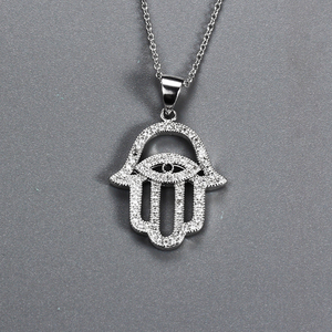 Wholesale cubic zirconia sterling silver evil eye hamsa hand charm