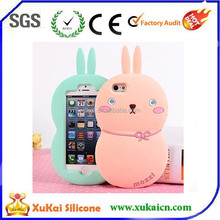 pink fat rabbit 3D silicone phone case mobile phone cover