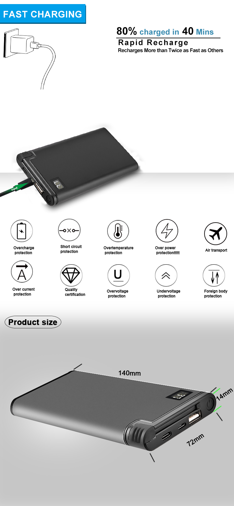 High capacity 10000mah Power Bank