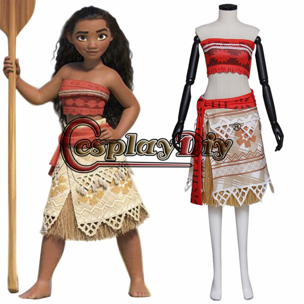 Movie Moana Princess Moana Waialiki Cosplay Costume for Adult Women Custom Made