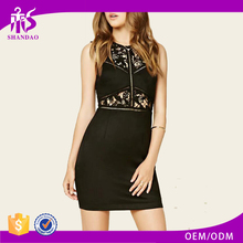 Guangzhou Shandao Summer Latest Model Sleeveless Embroidered Slim Fit Mini Cotton Spandex Hot Dress Sex Girl