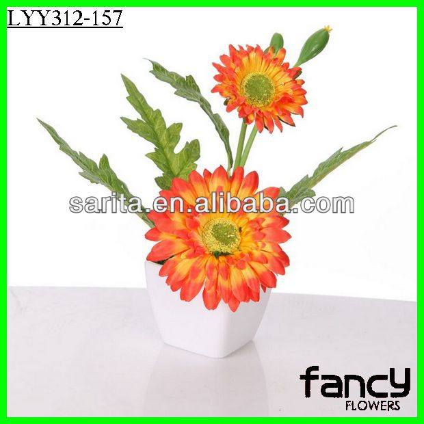 2 heads artificail flower bonsai gerbera daisy