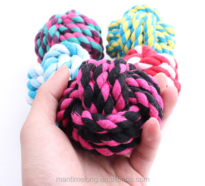 Pet Dog Cat Cotton Big Size Rope Ball Toys Chew Rope Teeth Clean Chase Throw Train Play Ball