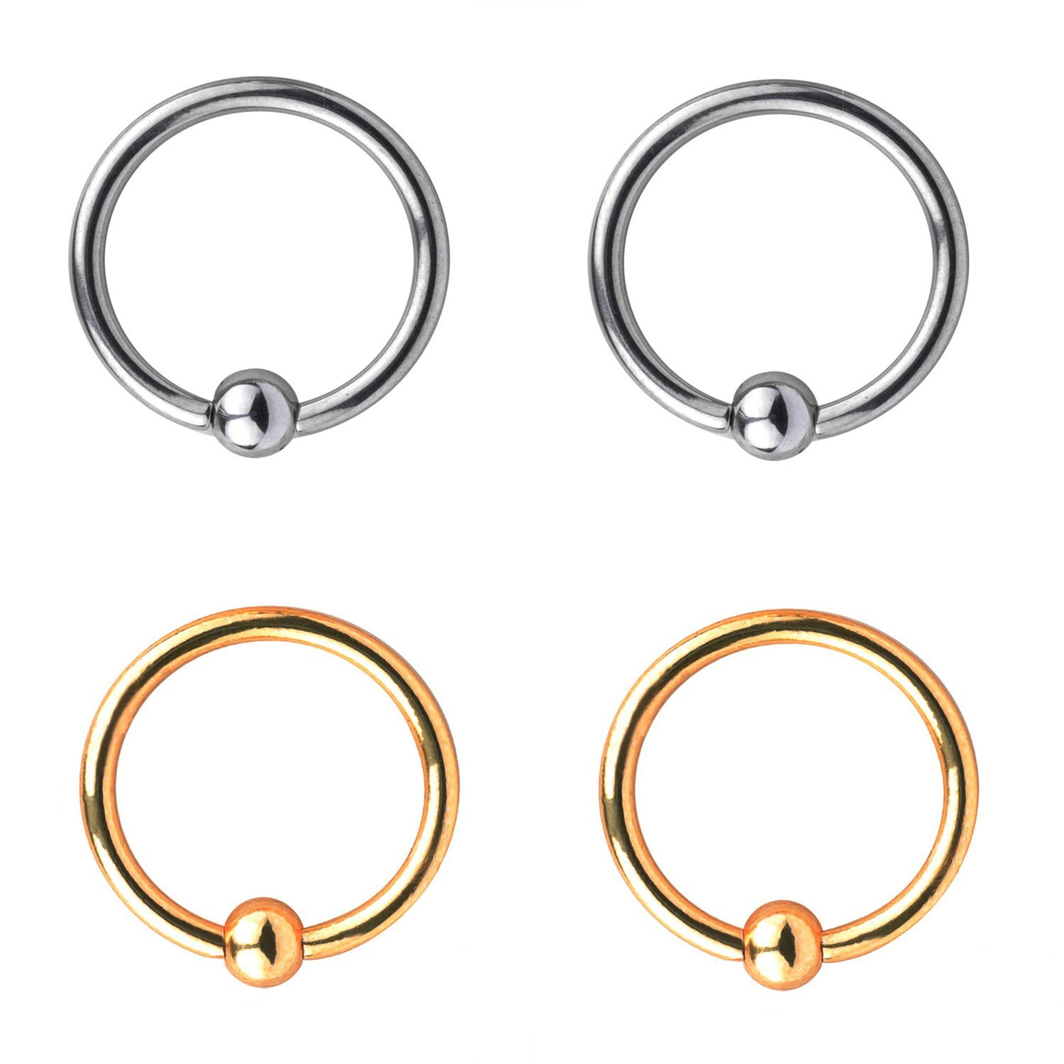 RJRK 16G Stainless Steel Hoop Nose Ring Ear Piercing Body Jewelry for Womens Mens 8mm