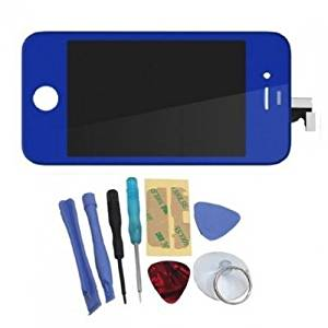 Binnbox Dark Blue LCD Touch Screen Glass Digitizer Assembly Replacement for iPhone 4S GSM + Back Cover Case + A Set Cracked Screen Repair Tools Kit