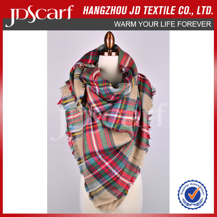 Fashion cheaper plaid brush pashmina high quality multicolor with Fringe unisex towel scarf