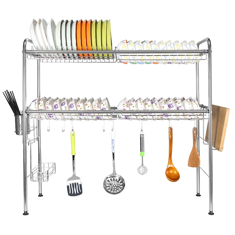 2 tier collapsible stainless steel over the sink folding drying cabinet plate drainer dish rack for cabinets