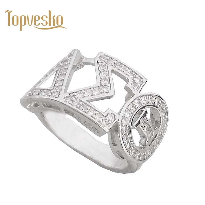 Greece Greek Top quality Cubic zirconia custom silver Sorority Dst letter Delta Sigma Theta Finger Ring with Jewelry box фото