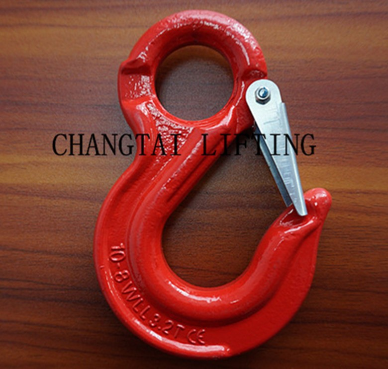 G80 eye sling hook with safety latch,forged eye hook for chain