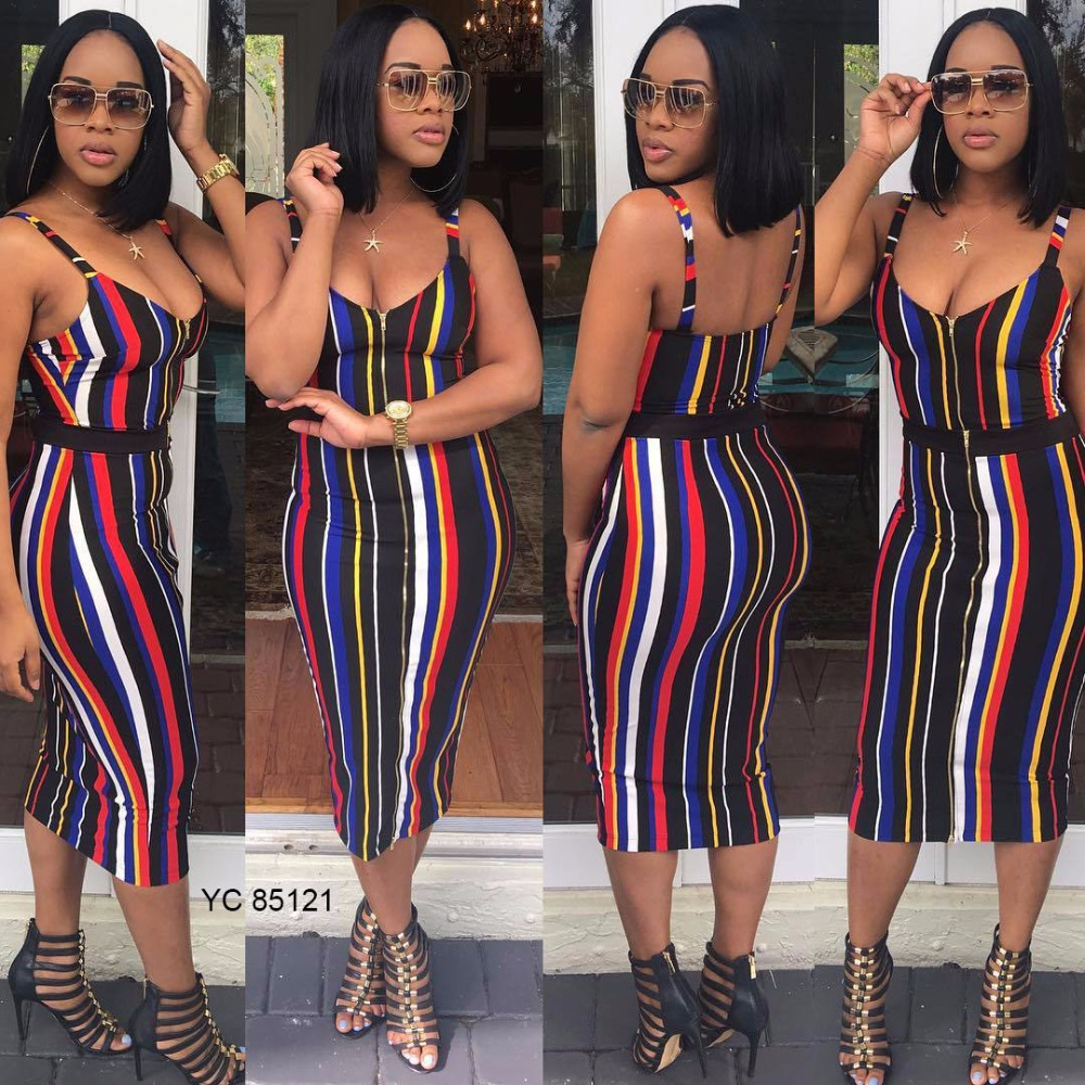 Hot selling stripe spaghetti strap dress African clothing styles for women