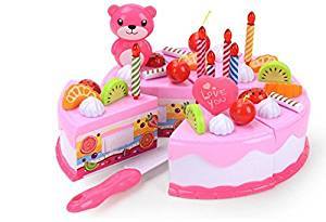 Efbock Birthday Children's Day Gift Food Play Toy Set DIY Cutting Pretend Play Birthday Party Cake with Candles for Children Kids Babies Girls Classic Toy 1set(37pcs/set)