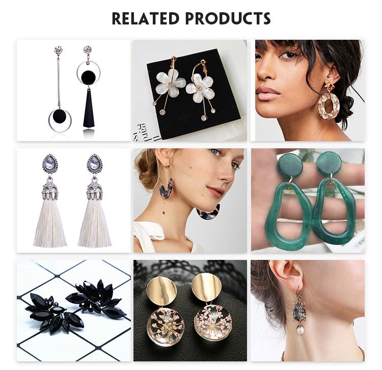 5 Pasang/Set Fashion Rumbai Round Stud Anting-Anting BoHo Set untuk Wanita Trendi Campuran Acrylic Laporan Korea Panjang Anting-Anting Set