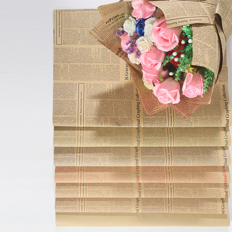 Nice Nice Newspapers Wholesale Design Printed Flower Wrapping Kraft Paper