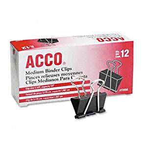 "ACCO : Medium Binder Clips, Steel Wire, 5/8"" Cap., 1-1/4""w, Black/Silver, Dozen -:- Sold as 2 Packs of - 12 - / - Total of 24 Each"