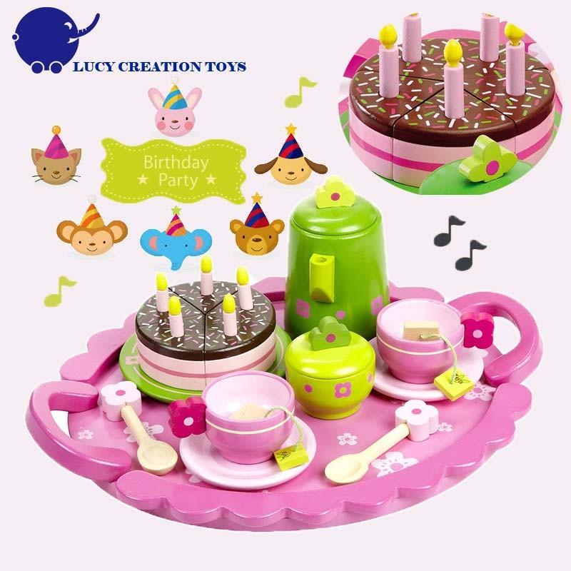 Happy Birthday Cake Pink Dreamlike Girls Play Wooden Tea Set Toy