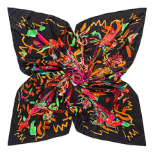 Hot selling 130x130cm square scarf flowers and birds digital print scarf imitation silk scarf