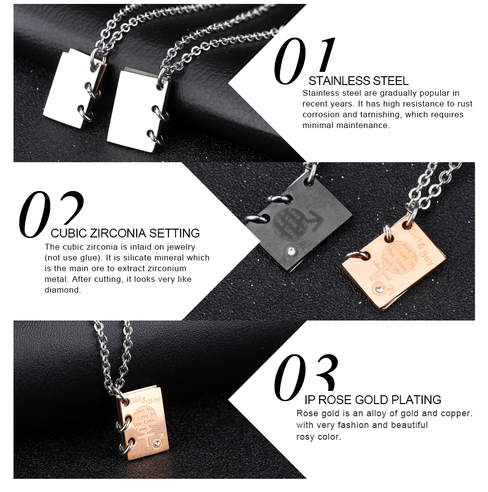 Trending Products Fashion Book Shape Stainless Steel Boy And Girl Pendant