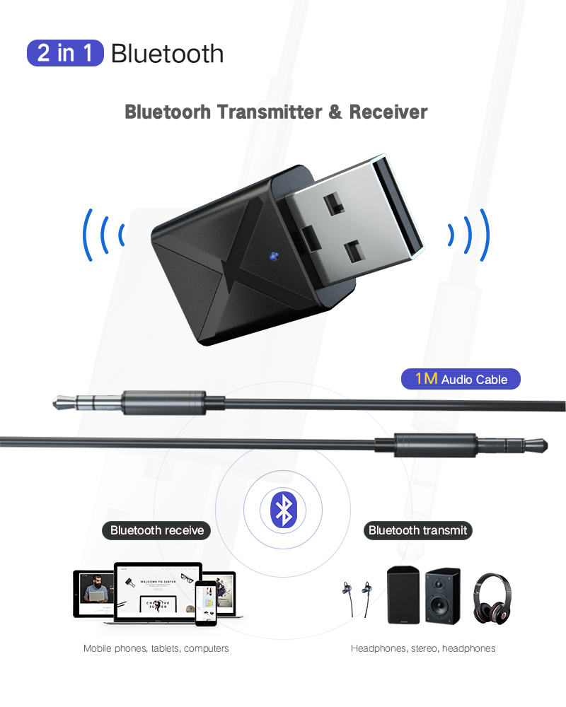 KN320 USB 2 en 1 Bluetooth 5,0 transmisor receptor de Audio AUX adaptador para TV/PC/coche/USB Bluetooth transmisor receptor