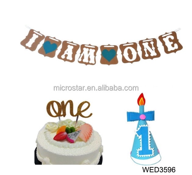 Boy First Birthday Cake Topper I Am One Banner And Blue Hat Celebration Kit