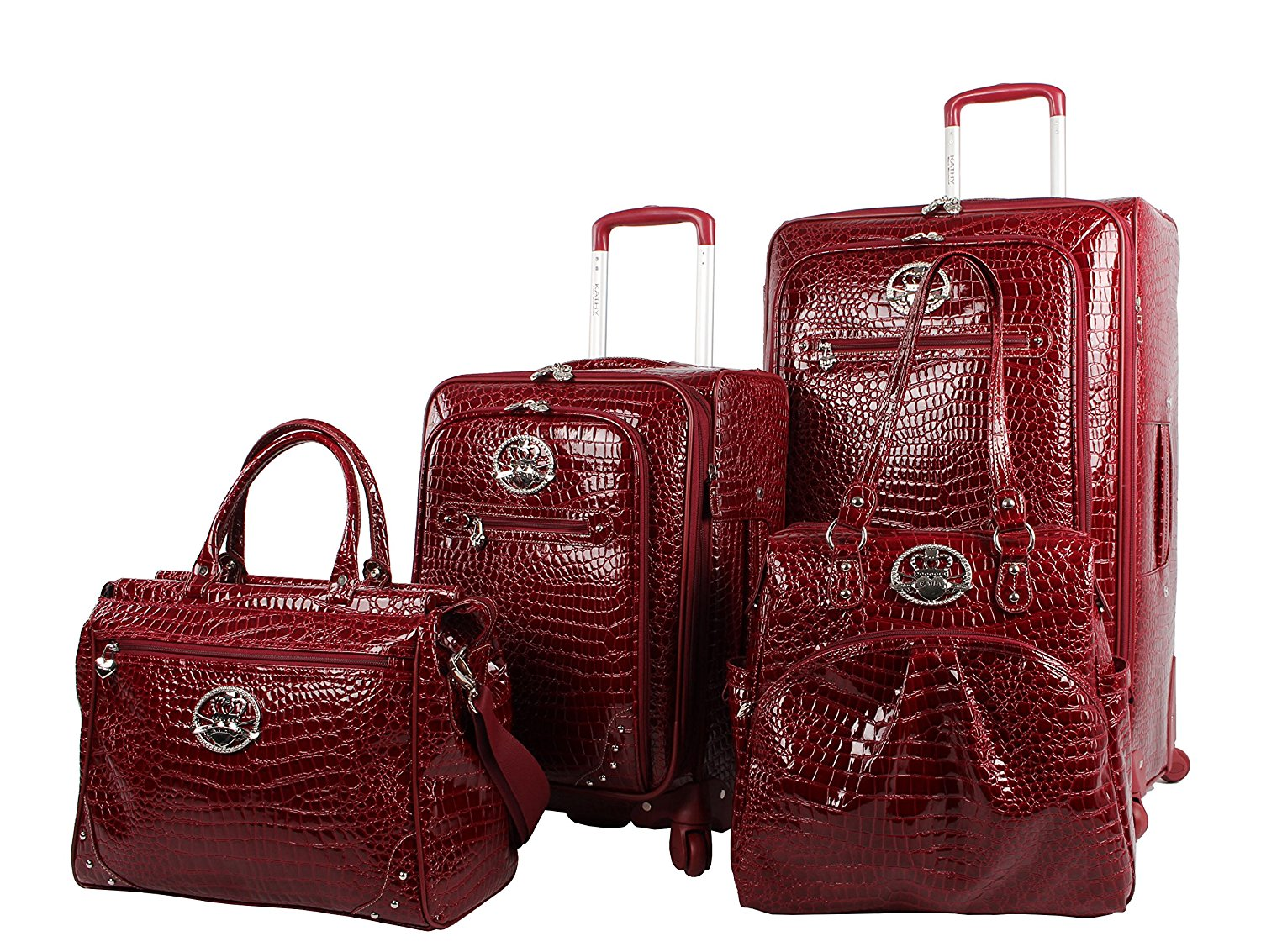 Kathy Van Zeeland Croco PVC Luggage Set 4 Piece Expandable Suitcase with  Spinner Wheels 5509b0609a6c3