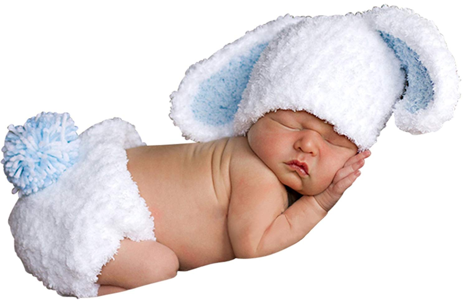 f00ca0381f1 Get Quotations · Melondipity Boys Handmade Bunny Baby Hat   Diaper Cover  Set - Super Soft Beanie